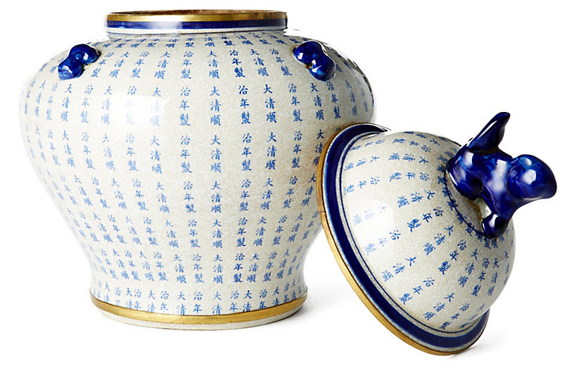 Quot calligraphy ginger jar blue white outdoor one