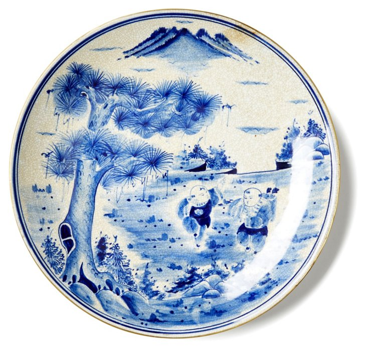 """12"""" Children Playing Plate, Blue/White"""