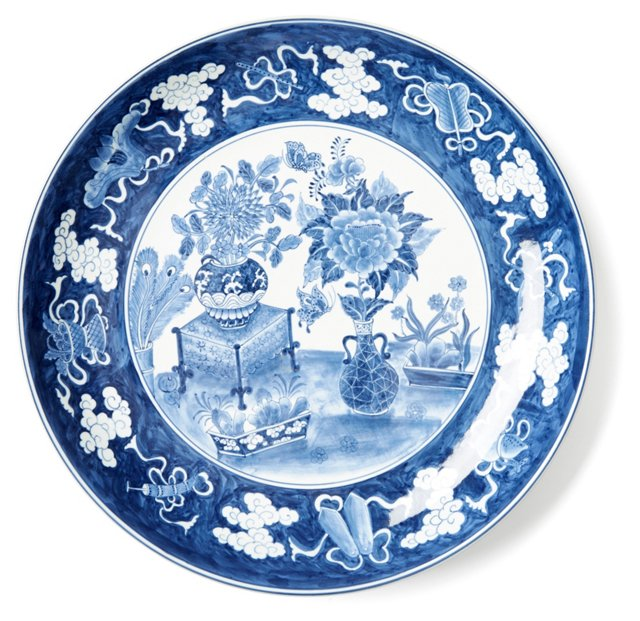 "14"" Floral Plate, Blue/White"