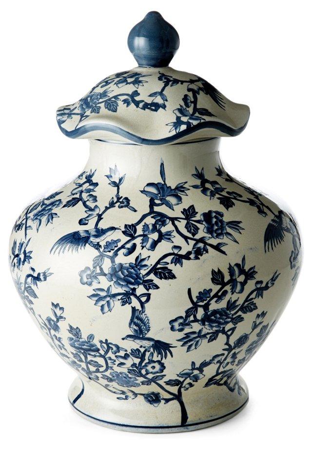 """18"""" Floral Ginger Jar, Blue/White"""