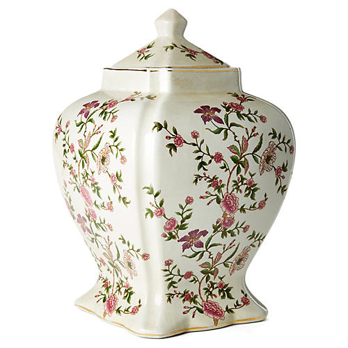 "15"" Floral Jar with Lid, Pink/Green"