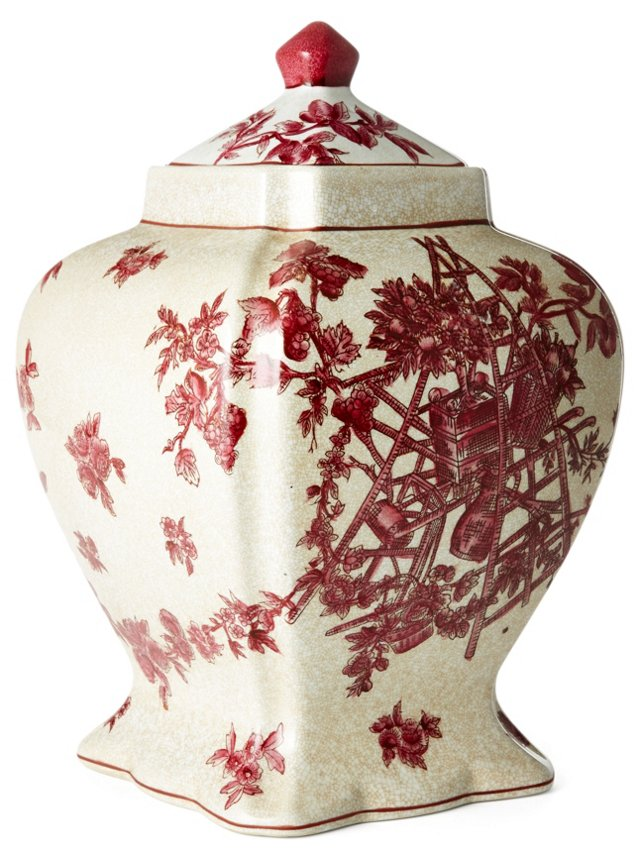"""15"""" Floral Square Jar, Red/White"""