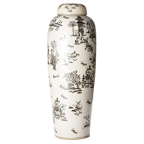 "32"" Toile Jar, Black/White"