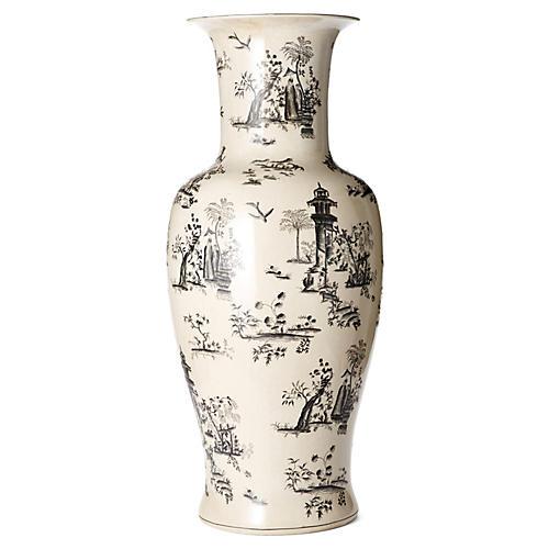 "36"" Toile Vase, Black/White"