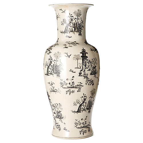 "36"" Toile Vase, Black/White"