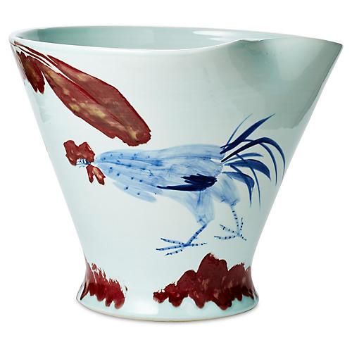 "17"" Bird Bowl, Blue/Red"