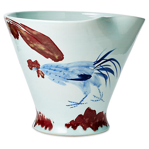 "17"" Bird Bowl, Blue/Red"