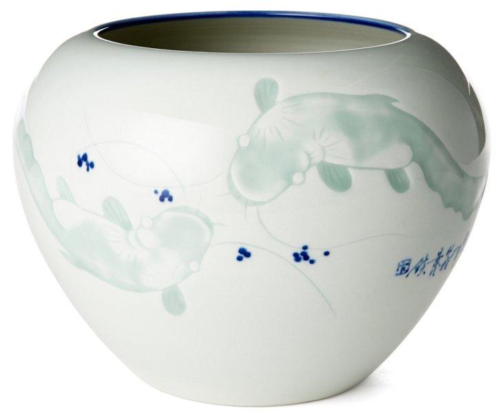 """10"""" Swimming Koi Vase, White/Green"""