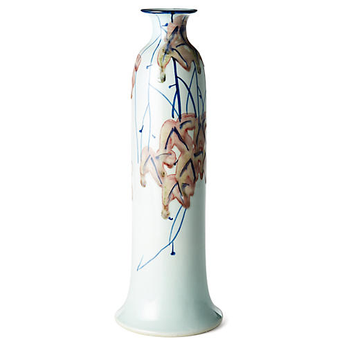 "17"" Bottle Vase, White/Blue"