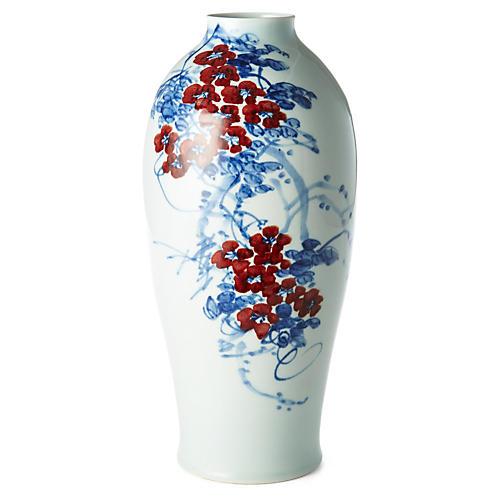"""14"""" Flowers in Bloom Vase, Blue/Red I"""