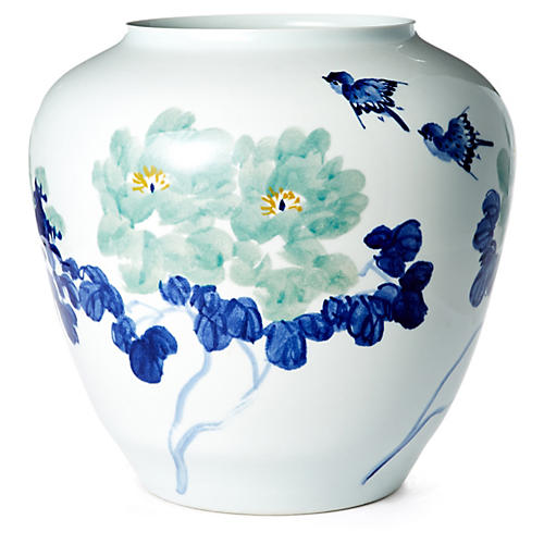 "16"" Floral Vase, Blue/White"