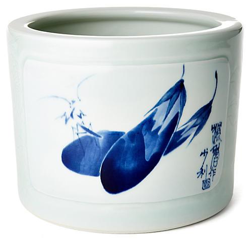 "9"" Eggplant Porcelain Bowl, White/Blue"