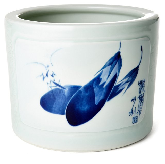 "9"" Eggplant Porcelain Bowl, White/Blue"