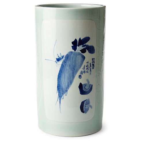 """12"""" Daikon Vase, Blue/White"""