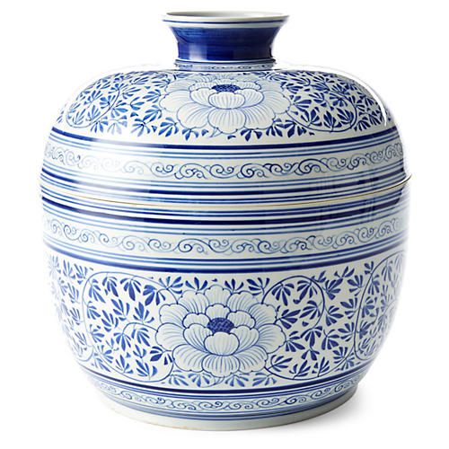 """12"""" Parsley Covered Bowl, Blue/White"""