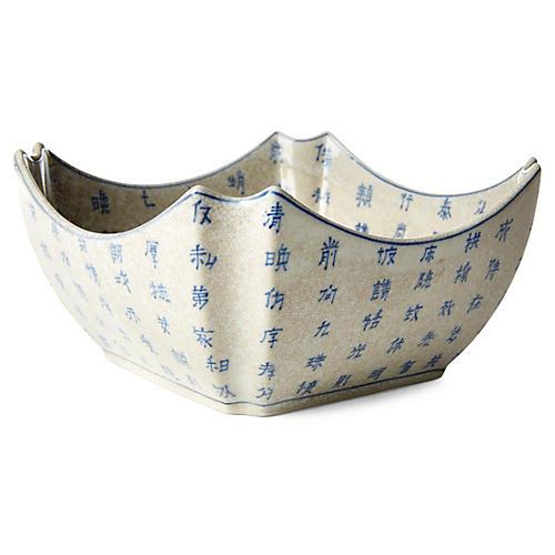 "9"" Square Calligraphy Bowl, Blue/White"