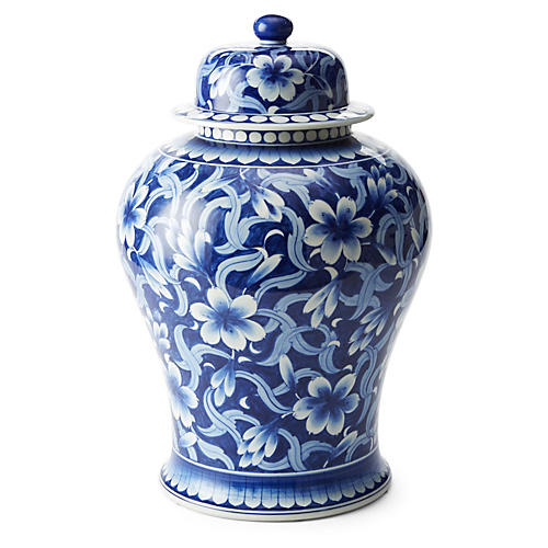 "19"" Jasmine Ginger Jar, Blue/White"