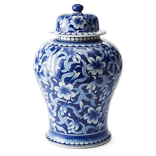 """19"""" Jasmine Ginger Jar, Blue/White"""