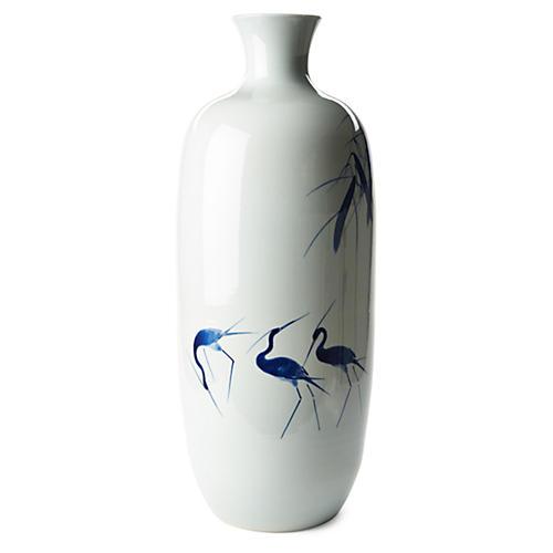 """27"""" Melon Crane Vase, Blue/White"""
