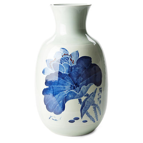 "21"" Lotus Vase, Blue/White"