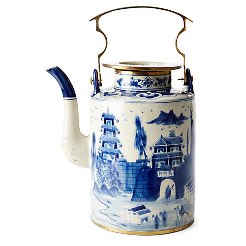 "13"" Great Wall Teapot, Blue/White"