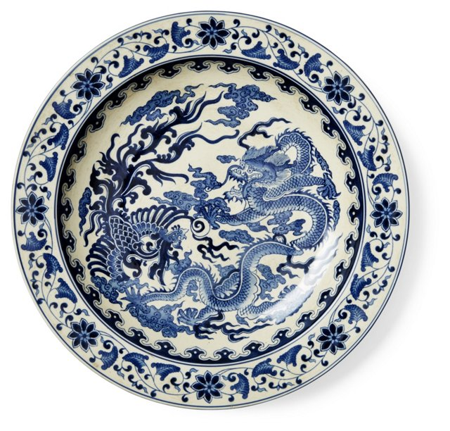 "16"" Dragon Plate, Blue/White"