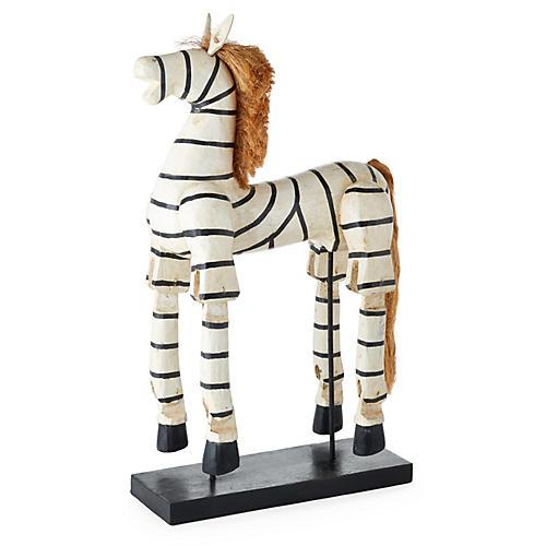"24"" Wood Zebra Puppet, Black/White"