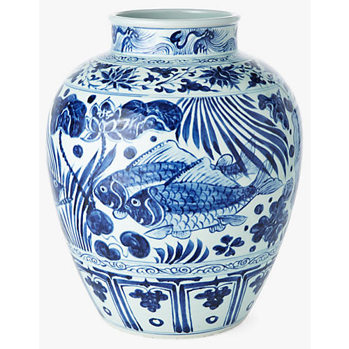 "16"" Lotus Jar w/ Fish, Blue/White"