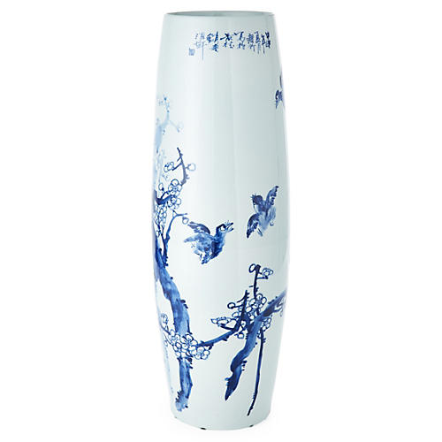 "24"" Tapered Vase w/ Birds, Blue/White"