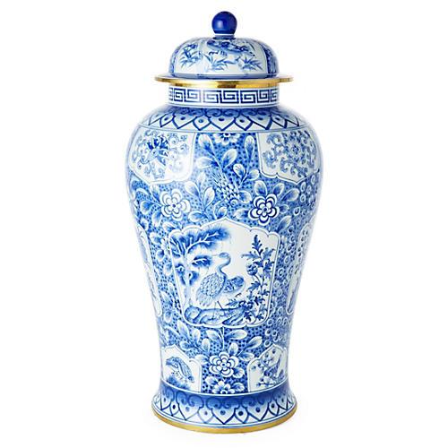 "21"" Paneled Ginger Jar, Blue/White"
