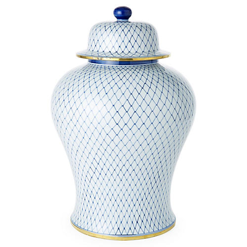 "18"" Net Ginger Jar, Blue/White"