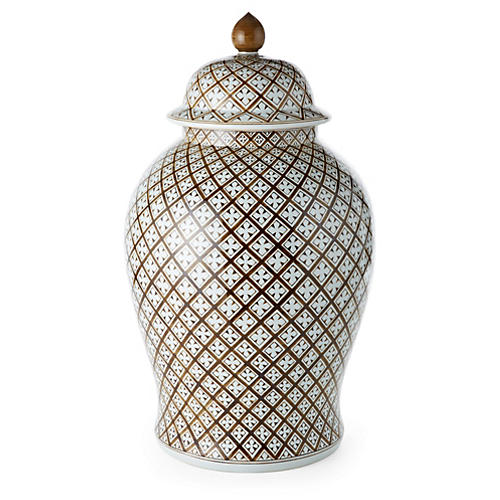 "25"" Geometric Ginger Jar, Brown"