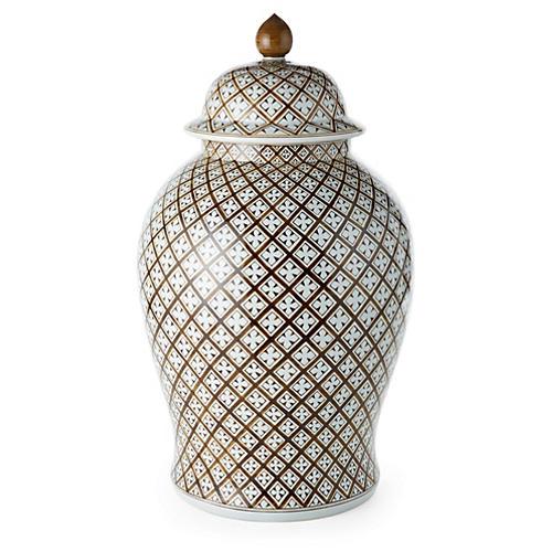 """25"""" Geometric Ginger Jar, Brown"""