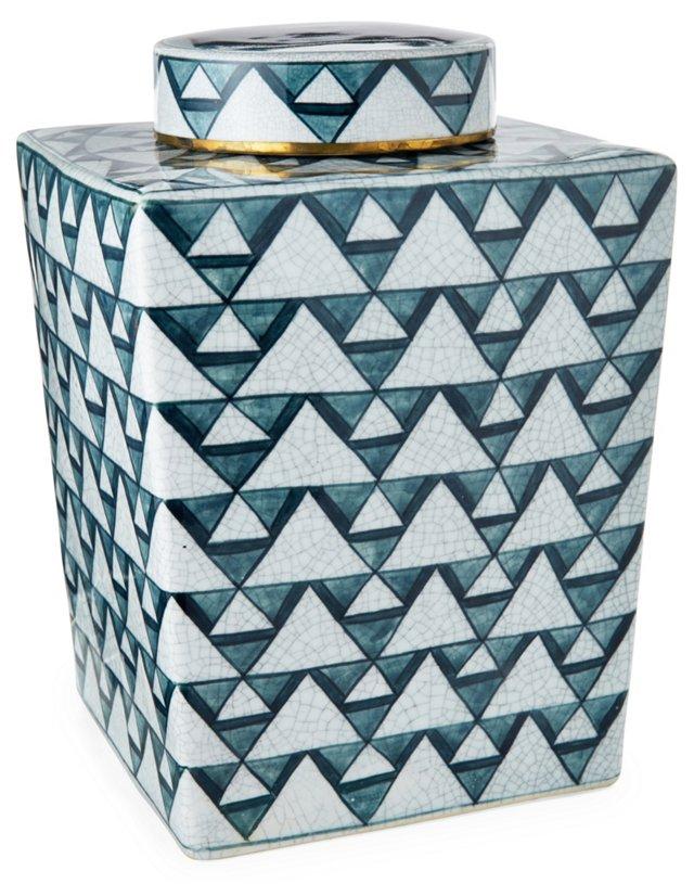 "13"" Diamond Jar w/ Lid, Blue/White"