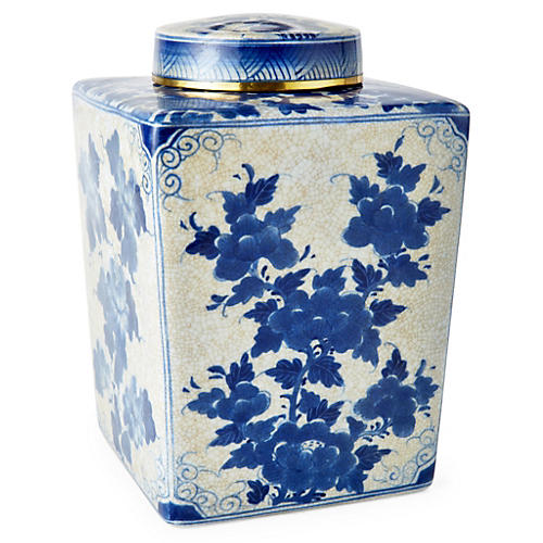 "11"" Floral Jar w/ Lid, Blue/White"