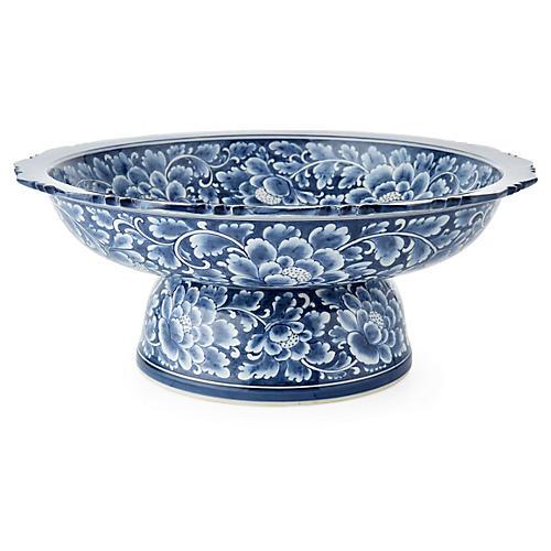 "16"" Floral Dish, Blue/White"