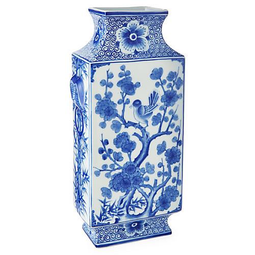 "6"" Bird Vase, Blue/White"
