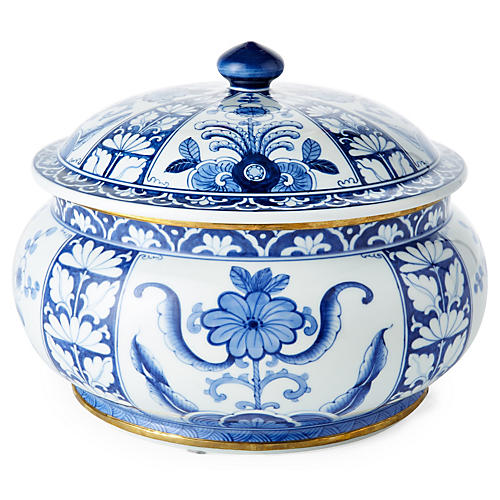 "10"" Chinoiserie Canister, Blue/White"
