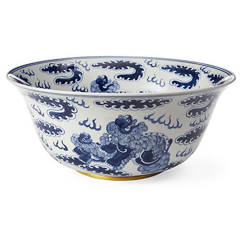 """15"""" Foo Dragon Bowl, Blue/White"""