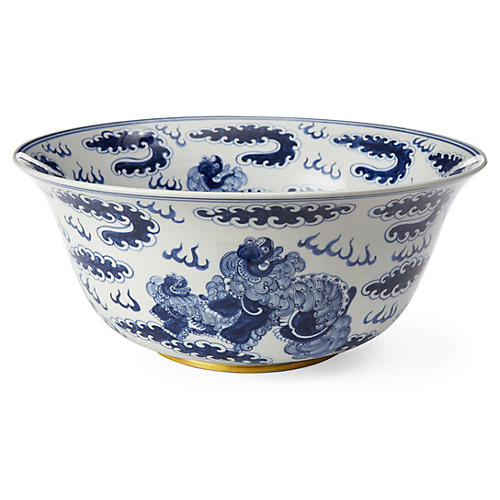 "15"" Foo Dragon Bowl, Blue/White"