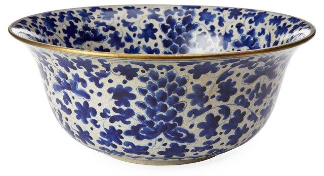 "15"" Vine-and-Flower Bowl, Blue"