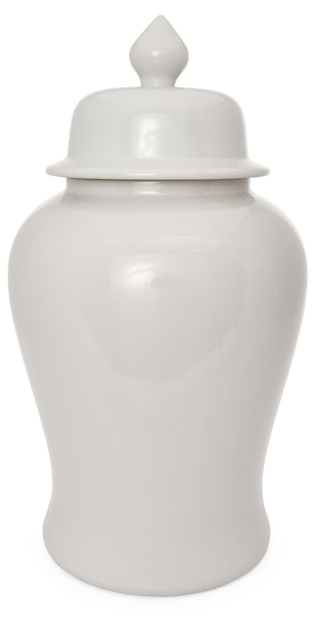 "24"" Porcelain Ginger Jar, White"