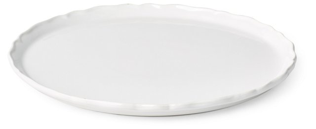 "13"" Round Porcelain Plate, White"