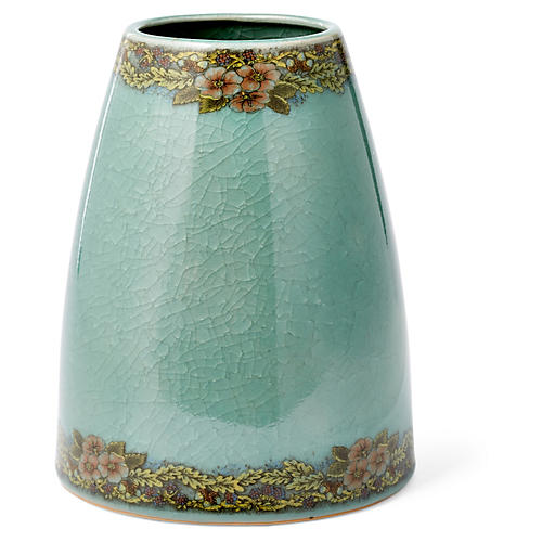 "9"" Crackled Flower Vase, Celadon"