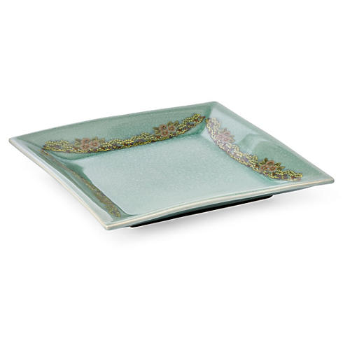 "15"" Crackled Flower Plate, Celadon"