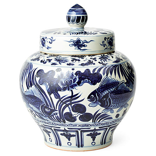 "18"" Lotus-and-Koi Jar, Blue/White"