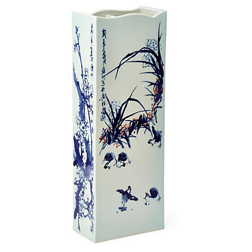 "24"" Porcelain Vase, Blue/White"