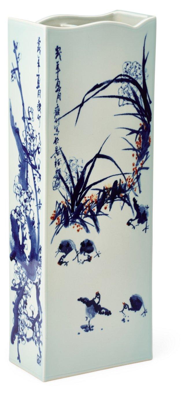 """24"""" Porcelain Vase, Blue/White"""