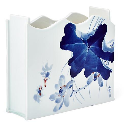 "14"" Porcelain Lotus Vase, Blue/White"