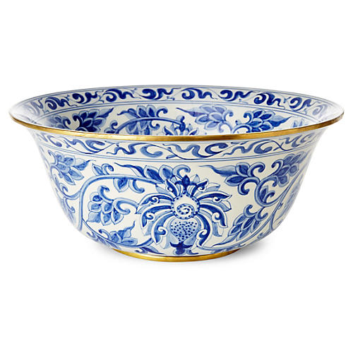 "15"" Vine Bowl, Blue/White"